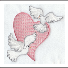 Doves Heart Embroidered