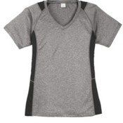Sport-Tek Ladies Heather Colorblock Contender V-Neck Tee